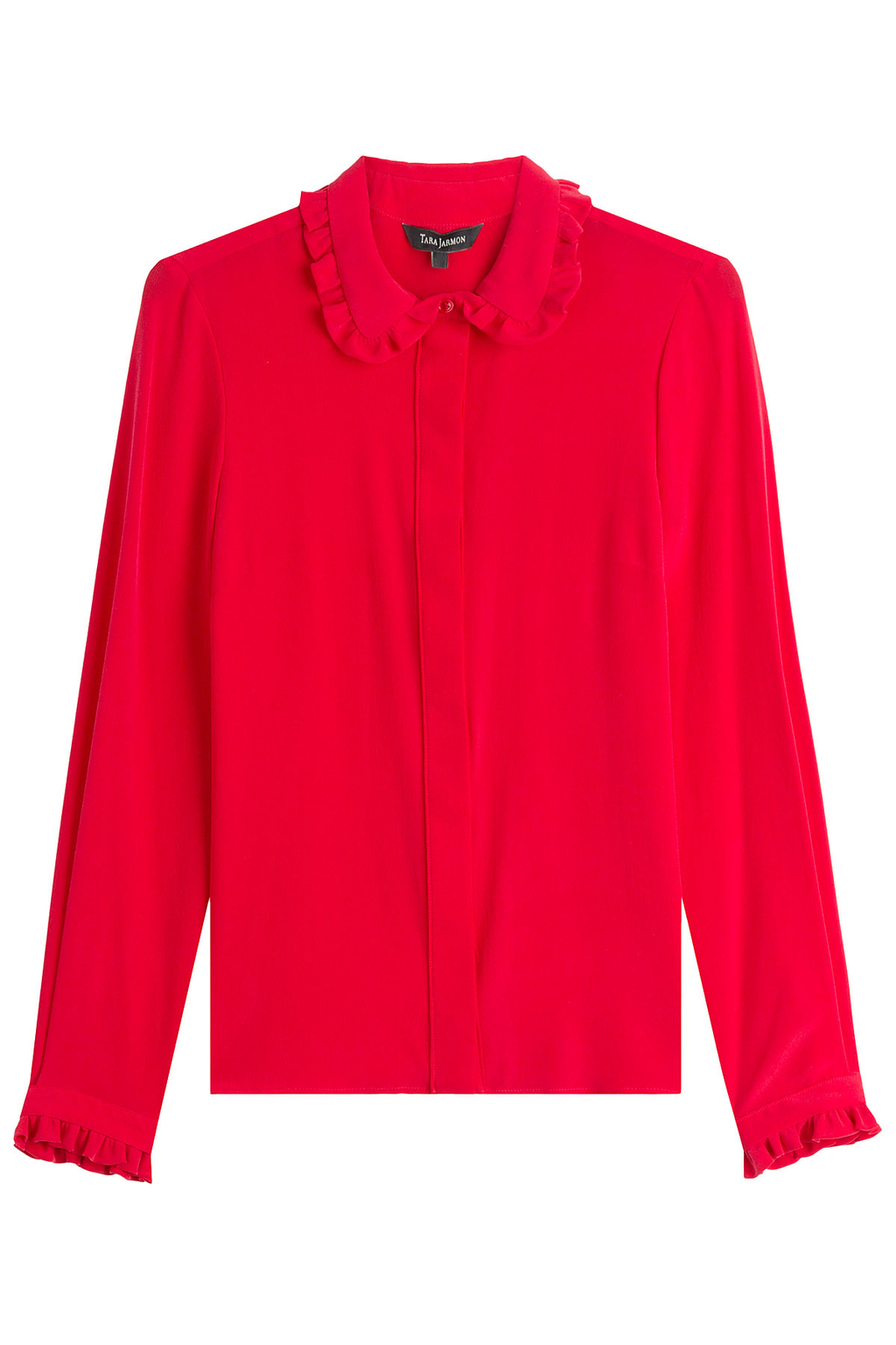 Silk Blouse Red - neckline: shirt collar/peter pan/zip with opening; pattern: plain; style: blouse; predominant colour: true red; occasions: work, occasion, creative work; length: standard; fibres: silk - 100%; fit: straight cut; sleeve length: long sleeve; sleeve style: standard; texture group: silky - light; pattern type: fabric; season: a/w 2016