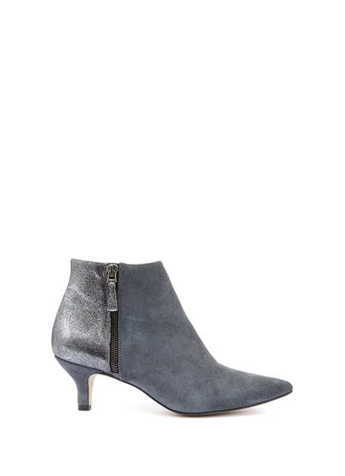 Grey Sami Kitten Heel Ankle Boot - predominant colour: mid grey; occasions: casual; material: leather; heel height: mid; heel: kitten; toe: pointed toe; boot length: ankle boot; style: standard; finish: plain; pattern: plain; wardrobe: basic; season: a/w 2016
