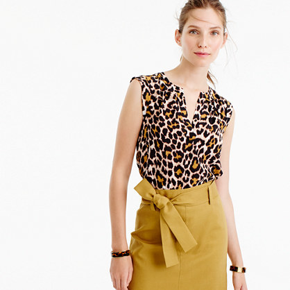 Cuffed Sleeve Top In Leopard Print - neckline: v-neck; sleeve style: sleeveless; predominant colour: ivory/cream; secondary colour: black; occasions: casual; length: standard; style: top; fibres: silk - 100%; fit: body skimming; sleeve length: sleeveless; texture group: silky - light; pattern type: fabric; pattern size: standard; pattern: animal print; multicoloured: multicoloured; season: a/w 2016; wardrobe: highlight