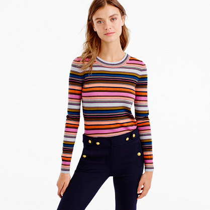 Rainbow Stripe Sweater In Merino Wool - pattern: horizontal stripes; style: standard; predominant colour: pink; secondary colour: bright orange; occasions: casual; length: standard; fibres: wool - 100%; fit: standard fit; neckline: crew; sleeve length: long sleeve; sleeve style: standard; texture group: knits/crochet; pattern type: fabric; multicoloured: multicoloured; season: a/w 2016; wardrobe: highlight