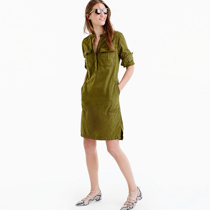 Utility Dress - style: shirt; pattern: plain; predominant colour: khaki; occasions: casual; length: just above the knee; fit: body skimming; neckline: collarstand; fibres: cotton - 100%; sleeve length: 3/4 length; sleeve style: standard; texture group: cotton feel fabrics; pattern type: fabric; wardrobe: basic; season: a/w 2016