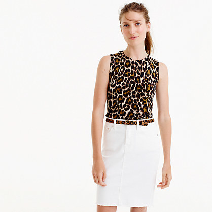 Lightweight Wool Jackie Sweater Shell In Leopard - sleeve style: sleeveless; style: standard; predominant colour: white; secondary colour: black; occasions: casual; length: standard; fibres: wool - 100%; fit: slim fit; neckline: crew; sleeve length: sleeveless; texture group: knits/crochet; pattern type: fabric; pattern: animal print; pattern size: big & busy (top); multicoloured: multicoloured; season: a/w 2016; wardrobe: highlight