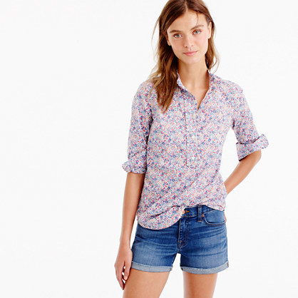 Ruffled Popover Shirt In Liberty Art Fabrics Emma And Georgina Print - neckline: shirt collar/peter pan/zip with opening; length: below the bottom; style: shirt; predominant colour: white; occasions: casual, creative work; fibres: cotton - 100%; fit: body skimming; sleeve length: long sleeve; sleeve style: standard; texture group: cotton feel fabrics; pattern type: fabric; pattern: florals; pattern size: big & busy (top); multicoloured: multicoloured; season: a/w 2016; wardrobe: highlight