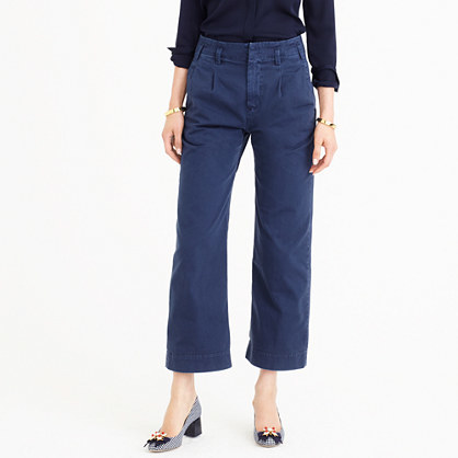 Wide Leg Chino Pant - length: standard; pattern: plain; waist: mid/regular rise; predominant colour: navy; occasions: casual; style: chino; fibres: cotton - 100%; texture group: cotton feel fabrics; fit: wide leg; pattern type: fabric; season: a/w 2016