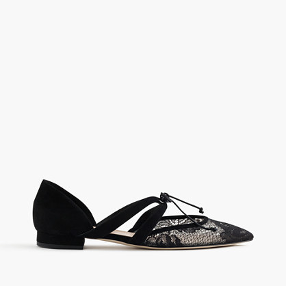 Tie Front Flats In Lace And Suede - predominant colour: black; occasions: evening; material: suede; heel height: flat; toe: pointed toe; style: ballerinas / pumps; finish: plain; pattern: plain; embellishment: lace; season: a/w 2016