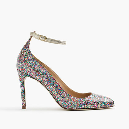 Coated Glitter Pumps With Ankle Strap - predominant colour: silver; occasions: evening; material: leather; embellishment: glitter; ankle detail: ankle strap; heel: stiletto; toe: pointed toe; style: courts; finish: metallic; pattern: plain; heel height: very high; season: a/w 2016