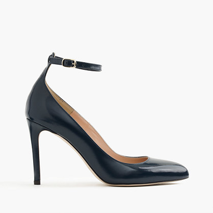 Glossy Leather Pumps With Ankle Strap - predominant colour: black; occasions: evening; material: leather; heel height: high; ankle detail: ankle strap; heel: stiletto; toe: pointed toe; style: courts; finish: patent; pattern: plain; season: a/w 2016; wardrobe: event