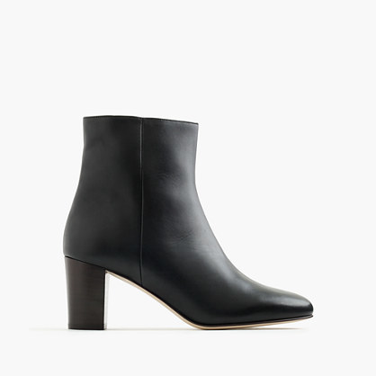 Heeled Ankle Boots In Leather - predominant colour: black; occasions: casual; material: leather; heel height: high; heel: block; toe: pointed toe; boot length: ankle boot; style: standard; finish: plain; pattern: plain; season: a/w 2016; wardrobe: highlight