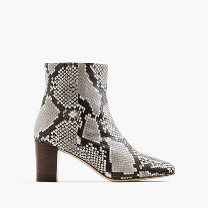Heeled Ankle Boots In Snakeskin Printed Leather - predominant colour: mid grey; secondary colour: black; occasions: casual, creative work; material: leather; heel height: high; heel: block; toe: pointed toe; boot length: ankle boot; style: standard; finish: plain; pattern: animal print; multicoloured: multicoloured; season: a/w 2016