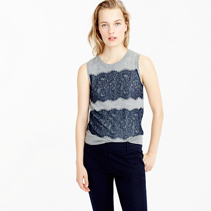 Lightweight Wool Jackie Sweater Shell With Lace - pattern: horizontal stripes; sleeve style: sleeveless; style: standard; secondary colour: navy; predominant colour: light grey; occasions: casual; length: standard; fibres: wool - 100%; fit: slim fit; neckline: crew; sleeve length: sleeveless; texture group: knits/crochet; pattern type: fabric; embellishment: lace; multicoloured: multicoloured; season: a/w 2016