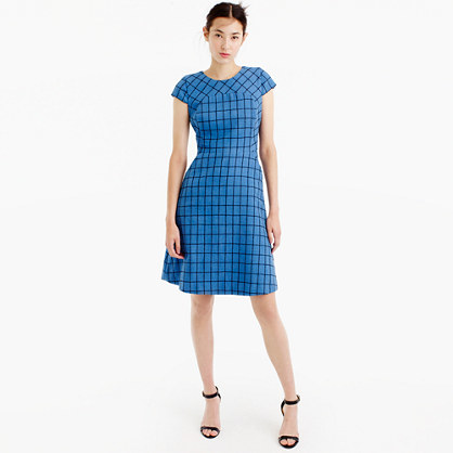 A Line Dress In Windowpane Tweed - style: shift; sleeve style: capped; pattern: checked/gingham; predominant colour: diva blue; occasions: work, creative work; length: just above the knee; fit: soft a-line; fibres: cotton - mix; neckline: crew; sleeve length: short sleeve; pattern type: fabric; texture group: woven light midweight; season: a/w 2016; wardrobe: highlight