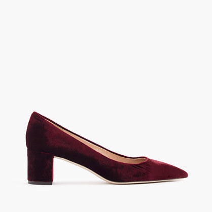 Avery Heels In Velvet - predominant colour: burgundy; occasions: evening; material: velvet; heel height: high; heel: block; toe: pointed toe; style: courts; finish: plain; pattern: plain; season: a/w 2016; wardrobe: event