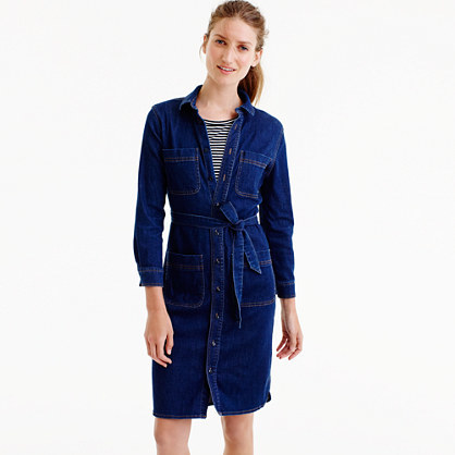 Denim Shirtdress - style: shirt; neckline: shirt collar/peter pan/zip with opening; pattern: plain; waist detail: belted waist/tie at waist/drawstring; predominant colour: navy; occasions: casual; length: just above the knee; fit: body skimming; fibres: cotton - 100%; sleeve length: long sleeve; sleeve style: standard; texture group: denim; pattern type: fabric; wardrobe: basic; season: a/w 2016