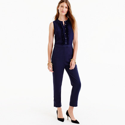 Tall Ruffle Front Jumpsuit - pattern: plain; sleeve style: sleeveless; predominant colour: black; occasions: evening; length: ankle length; fit: body skimming; neckline: crew; sleeve length: sleeveless; style: jumpsuit; pattern type: fabric; texture group: other - light to midweight; fibres: viscose/rayon - mix; season: a/w 2016