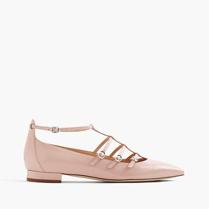 Caged Flats In Glossy Leather - predominant colour: pink; occasions: casual, creative work; material: leather; heel height: flat; ankle detail: ankle strap; toe: pointed toe; style: ballerinas / pumps; finish: plain; pattern: plain; season: a/w 2016; wardrobe: highlight