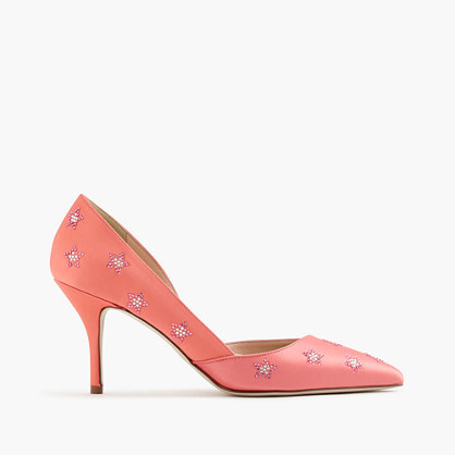 Colette D'orsay Pumps In Embellished Satin - predominant colour: bright orange; occasions: evening, occasion, creative work; material: leather; heel height: high; embellishment: crystals/glass; heel: stiletto; toe: pointed toe; style: courts; finish: plain; pattern: plain; season: a/w 2016; wardrobe: highlight