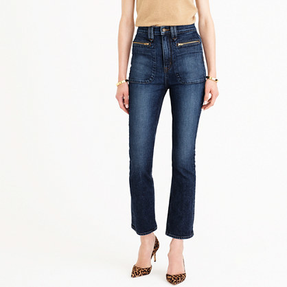 Point Sur Cybil Demi Boot Crop Jean In Allaqua Wash - style: bootcut; length: standard; pattern: plain; waist: mid/regular rise; predominant colour: navy; occasions: casual; fibres: cotton - stretch; texture group: denim; pattern type: fabric; wardrobe: basic; season: a/w 2016