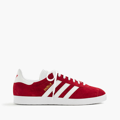 Adidas® Gazelle® Sneakers - secondary colour: white; predominant colour: true red; occasions: casual; material: suede; heel height: flat; toe: round toe; style: trainers; finish: plain; pattern: striped; season: a/w 2016; wardrobe: highlight