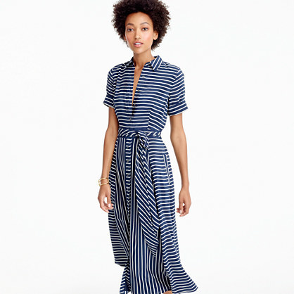 Midi Shirtdress In Stripe - style: shirt; length: calf length; neckline: shirt collar/peter pan/zip with opening; pattern: striped; waist detail: belted waist/tie at waist/drawstring; secondary colour: white; predominant colour: navy; occasions: casual; fit: body skimming; fibres: silk - 100%; sleeve length: short sleeve; sleeve style: standard; pattern type: fabric; texture group: woven light midweight; multicoloured: multicoloured; season: a/w 2016; wardrobe: highlight