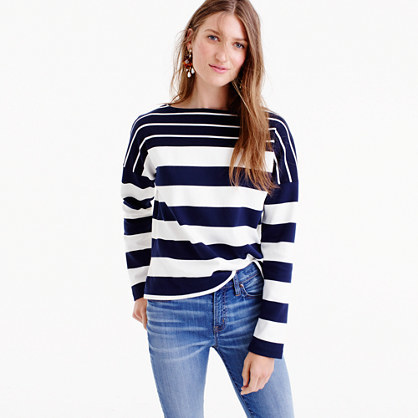 Stripe Blocked Boatneck T Shirt - neckline: slash/boat neckline; pattern: horizontal stripes; style: t-shirt; predominant colour: white; secondary colour: navy; occasions: casual; length: standard; fibres: cotton - 100%; fit: body skimming; sleeve length: long sleeve; sleeve style: standard; pattern type: fabric; texture group: jersey - stretchy/drapey; multicoloured: multicoloured; wardrobe: basic; season: a/w 2016