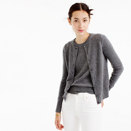 Italian Cashmere Cardigan Sweater - neckline: round neck; pattern: plain; predominant colour: charcoal; occasions: casual; length: standard; style: standard; fit: standard fit; fibres: cashmere - 100%; sleeve length: long sleeve; sleeve style: standard; texture group: knits/crochet; pattern type: knitted - fine stitch; wardrobe: investment; season: a/w 2016