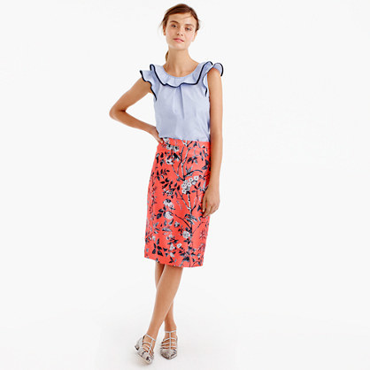 Collection Slip Skirt In Ratti® Monkey Print - style: pencil; fit: tailored/fitted; waist: high rise; predominant colour: coral; secondary colour: black; occasions: casual, occasion; length: on the knee; fibres: silk - 100%; texture group: silky - light; pattern type: fabric; pattern: florals; pattern size: big & busy (bottom); multicoloured: multicoloured; season: a/w 2016; wardrobe: highlight