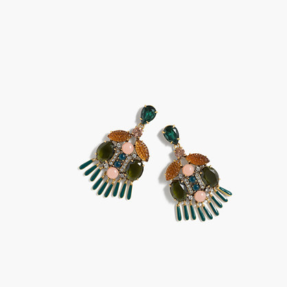 Dragonfly Crystal Earrings - predominant colour: emerald green; secondary colour: gold; occasions: evening; style: drop; length: long; size: large/oversized; material: chain/metal; fastening: pierced; finish: plain; embellishment: crystals/glass; multicoloured: multicoloured; season: a/w 2016; wardrobe: event