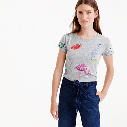Bird Life Art T Shirt - style: t-shirt; secondary colour: pink; predominant colour: light grey; occasions: casual; length: standard; fibres: cotton - 100%; fit: body skimming; neckline: crew; sleeve length: short sleeve; sleeve style: standard; pattern type: fabric; pattern: patterned/print; texture group: jersey - stretchy/drapey; multicoloured: multicoloured; season: a/w 2016; wardrobe: highlight