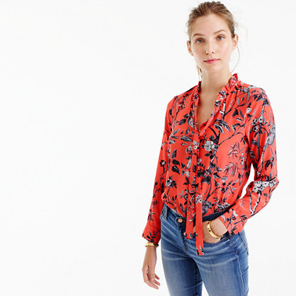 Collection Ruffle Tie Neck Top In Ratti® Sunset Coral Monkey Print - neckline: pussy bow; style: blouse; predominant colour: coral; occasions: work, creative work; length: standard; fibres: silk - 100%; fit: body skimming; sleeve length: long sleeve; sleeve style: standard; texture group: silky - light; pattern type: fabric; pattern: florals; pattern size: big & busy (top); multicoloured: multicoloured; season: a/w 2016; wardrobe: highlight
