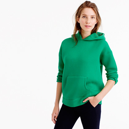Collection Hoodie In Japanese Scuba Fabric - pattern: plain; neckline: high neck; predominant colour: emerald green; occasions: casual; length: standard; fit: loose; sleeve length: long sleeve; sleeve style: standard; texture group: technical outdoor fabrics; pattern type: fabric; fibres: viscose/rayon - mix; style: hoody; season: a/w 2016; wardrobe: highlight