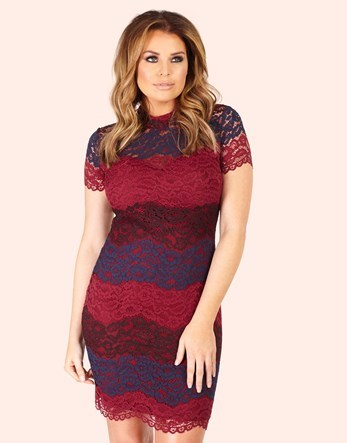 Stripe Lace Dress - fit: tight; neckline: high neck; style: bodycon; pattern: striped; hip detail: fitted at hip; predominant colour: burgundy; secondary colour: navy; occasions: evening; length: just above the knee; fibres: polyester/polyamide - stretch; sleeve length: short sleeve; sleeve style: standard; texture group: lace; pattern type: fabric; multicoloured: multicoloured; season: a/w 2016; wardrobe: event