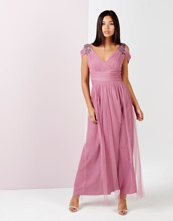 Embellished Drape Shoulder Maxi Dress - neckline: low v-neck; pattern: plain; sleeve style: sleeveless; style: maxi dress; length: ankle length; predominant colour: lilac; occasions: evening; fit: body skimming; fibres: polyester/polyamide - 100%; sleeve length: sleeveless; texture group: sheer fabrics/chiffon/organza etc.; pattern type: fabric; embellishment: crystals/glass; season: a/w 2016; wardrobe: event