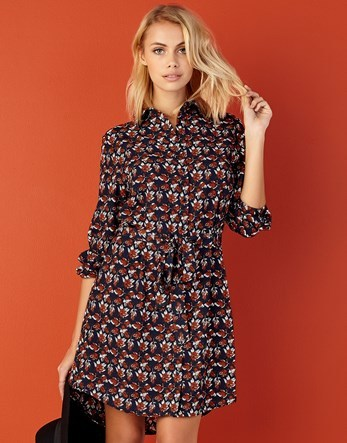 Autumn Print Shirt Dress - style: shirt; neckline: shirt collar/peter pan/zip with opening; waist detail: belted waist/tie at waist/drawstring; secondary colour: hot pink; predominant colour: navy; occasions: casual; length: just above the knee; fit: body skimming; fibres: polyester/polyamide - 100%; sleeve length: 3/4 length; sleeve style: standard; pattern type: fabric; pattern: patterned/print; texture group: other - light to midweight; multicoloured: multicoloured; season: a/w 2016