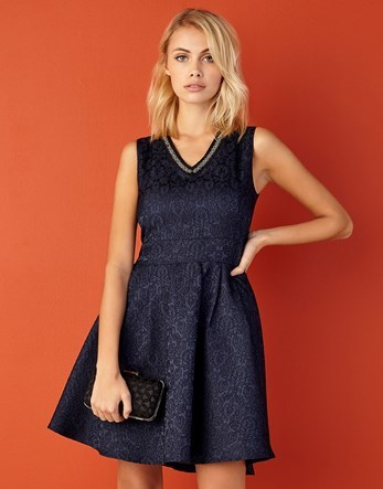 Beaded Neckline Lace Skater Dress - neckline: v-neck; pattern: plain; sleeve style: sleeveless; predominant colour: navy; occasions: evening; length: just above the knee; fit: fitted at waist & bust; style: fit & flare; fibres: polyester/polyamide - 100%; sleeve length: sleeveless; texture group: lace; pattern type: fabric; embellishment: beading; season: a/w 2016; wardrobe: event; embellishment location: bust