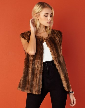 Faux Fur Gilet - pattern: plain; sleeve style: sleeveless; style: gilet; collar: round collar/collarless; length: below the bottom; predominant colour: chocolate brown; occasions: casual, creative work; fit: straight cut (boxy); fibres: polyester/polyamide - 100%; sleeve length: sleeveless; texture group: fur; collar break: low/open; pattern type: fabric; season: a/w 2016; wardrobe: highlight