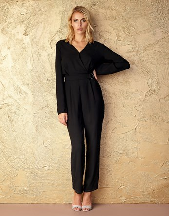 Canx Buckle Jumpsuit - length: standard; neckline: v-neck; pattern: plain; predominant colour: black; occasions: evening; fit: body skimming; fibres: polyester/polyamide - 100%; sleeve length: long sleeve; sleeve style: standard; style: jumpsuit; pattern type: fabric; texture group: jersey - stretchy/drapey; season: a/w 2016; wardrobe: event