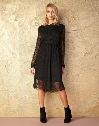 Button Up Lace Dress - length: calf length; pattern: plain; predominant colour: black; occasions: evening; fit: fitted at waist & bust; style: fit & flare; fibres: polyester/polyamide - stretch; neckline: crew; sleeve length: long sleeve; sleeve style: standard; texture group: lace; pattern type: fabric; pattern size: standard; season: a/w 2016; wardrobe: event