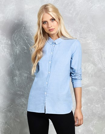 Shirt - neckline: shirt collar/peter pan/zip with opening; pattern: plain; style: shirt; predominant colour: pale blue; occasions: casual; length: standard; fibres: cotton - 100%; fit: body skimming; sleeve length: long sleeve; sleeve style: standard; texture group: denim; pattern type: fabric; wardrobe: basic; season: a/w 2016