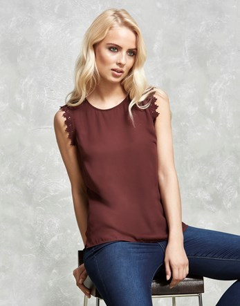 Lace Trim Top - neckline: round neck; pattern: plain; sleeve style: sleeveless; predominant colour: aubergine; occasions: casual, creative work; length: standard; style: top; fibres: polyester/polyamide - 100%; fit: body skimming; sleeve length: sleeveless; pattern type: fabric; texture group: other - light to midweight; embellishment: lace; season: a/w 2016; wardrobe: highlight