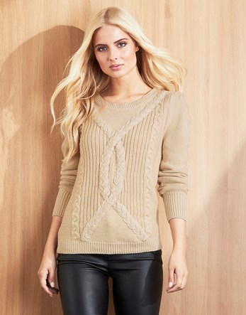 Cable Knit Jumper - style: standard; pattern: cable knit; predominant colour: stone; occasions: casual; length: standard; fibres: cotton - mix; fit: standard fit; neckline: crew; sleeve length: long sleeve; sleeve style: standard; texture group: knits/crochet; pattern type: fabric; pattern size: standard; season: a/w 2016; wardrobe: highlight