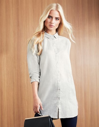 Shirt Dress - style: shirt; length: mid thigh; neckline: shirt collar/peter pan/zip with opening; pattern: plain; predominant colour: light grey; occasions: casual; fit: body skimming; fibres: cotton - mix; sleeve length: long sleeve; sleeve style: standard; pattern type: fabric; texture group: woven light midweight; season: a/w 2016