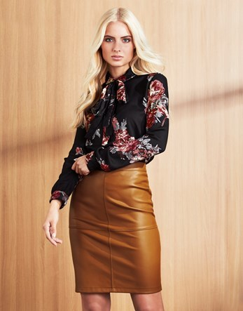 Leather A Line Skirt - pattern: plain; style: pencil; fit: tight; waist: high rise; predominant colour: mustard; occasions: casual, evening, creative work; length: just above the knee; fibres: leather - 100%; texture group: leather; pattern type: fabric; season: a/w 2016; wardrobe: highlight