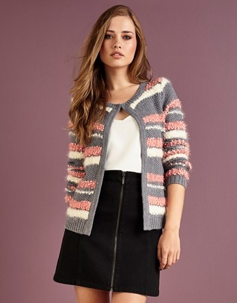 Stripe Cardigan - neckline: round neck; pattern: horizontal stripes; secondary colour: pink; predominant colour: light grey; occasions: casual; length: standard; style: standard; fibres: acrylic - 100%; fit: slim fit; sleeve length: long sleeve; sleeve style: standard; texture group: knits/crochet; pattern type: fabric; multicoloured: multicoloured; season: a/w 2016; wardrobe: highlight