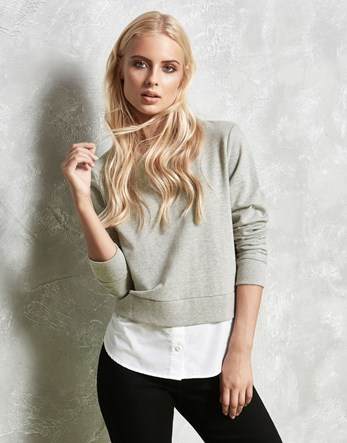Classic Sweater - neckline: round neck; pattern: plain; length: cropped; style: standard; predominant colour: light grey; occasions: casual, creative work; fibres: cotton - 100%; fit: slim fit; sleeve length: long sleeve; sleeve style: standard; texture group: knits/crochet; pattern type: knitted - fine stitch; season: a/w 2016
