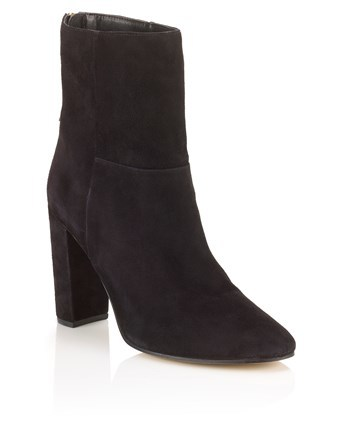 Ankle Block Heel Boots - predominant colour: black; occasions: casual; material: suede; heel height: high; heel: block; toe: pointed toe; boot length: ankle boot; style: standard; finish: plain; pattern: plain; season: a/w 2016; wardrobe: highlight