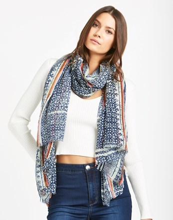 Long Scarf - predominant colour: denim; occasions: casual; type of pattern: heavy; style: regular; size: large; material: fabric; pattern: patterned/print; season: a/w 2016