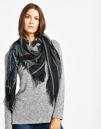 Square Scarf - predominant colour: black; occasions: casual; type of pattern: heavy; style: square; size: large; material: fabric; pattern: patterned/print; season: a/w 2016; wardrobe: highlight