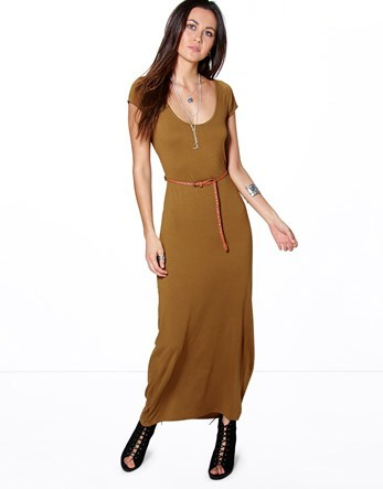 Cap Sleeve Belted Maxi Dress - pattern: plain; style: maxi dress; length: ankle length; waist detail: belted waist/tie at waist/drawstring; predominant colour: khaki; occasions: casual; fit: body skimming; neckline: scoop; fibres: polyester/polyamide - stretch; sleeve length: short sleeve; sleeve style: standard; pattern type: fabric; texture group: jersey - stretchy/drapey; wardrobe: basic; season: a/w 2016
