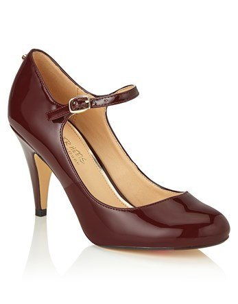 Patent Courts - predominant colour: burgundy; occasions: evening; material: leather; heel height: high; ankle detail: ankle strap; heel: stiletto; toe: round toe; style: mary janes; finish: patent; pattern: plain; season: a/w 2016; wardrobe: event