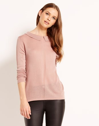 Long Sleeve Jumper - pattern: plain; style: standard; hip detail: fitted at hip; predominant colour: blush; occasions: casual; length: standard; fibres: acrylic - 100%; fit: slim fit; neckline: no opening/shirt collar/peter pan; sleeve length: long sleeve; sleeve style: standard; texture group: knits/crochet; pattern type: fabric; season: a/w 2016